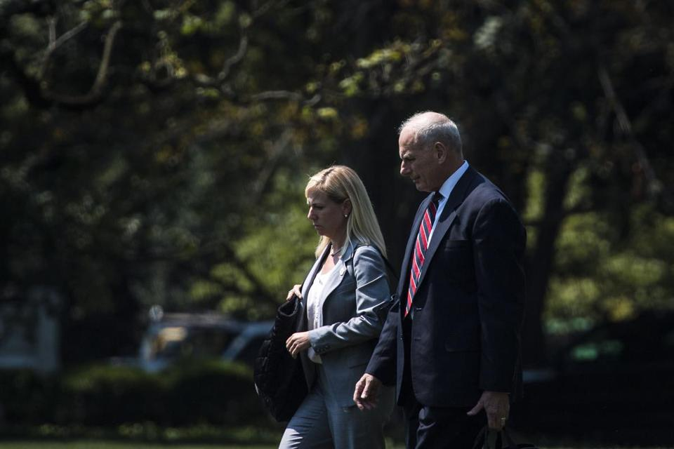 Kirstjen Nielsen, left, seen on Aug. 22 with White House chief of staff John Kelly, is expected to grab the nomination of Homeland Security secretary. Nielsen is a cybersecurity expert and deputy White House chief of staff. MUST CREDIT: Washington Post photo by Jabin Botsford
