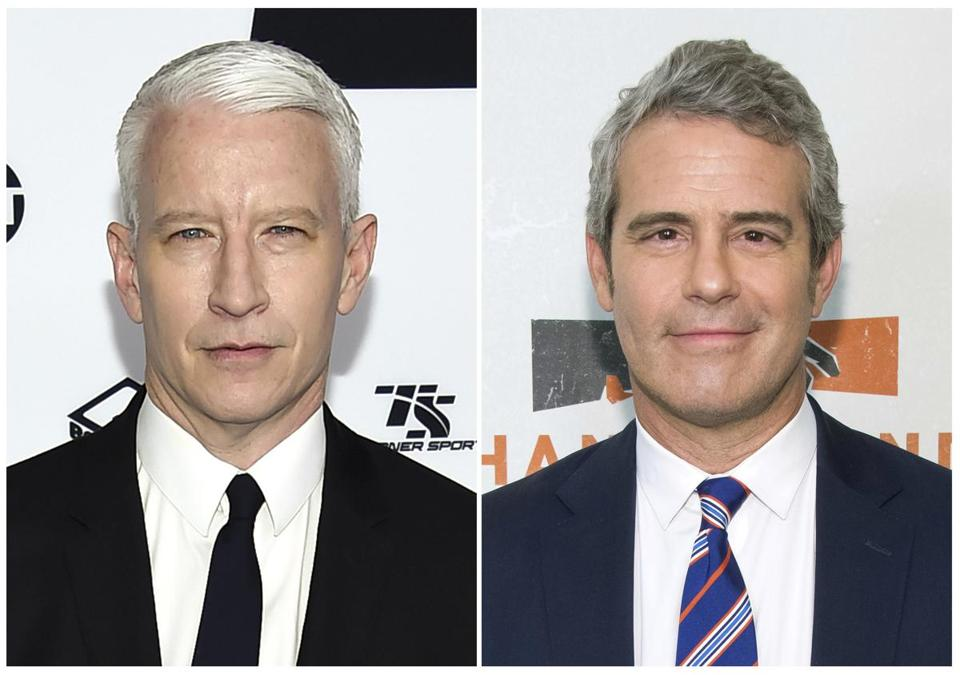 "CNN's Anderson Cooper, left, and Bravo TV's ""Watch What Happens Live"" host Andy Cohen."