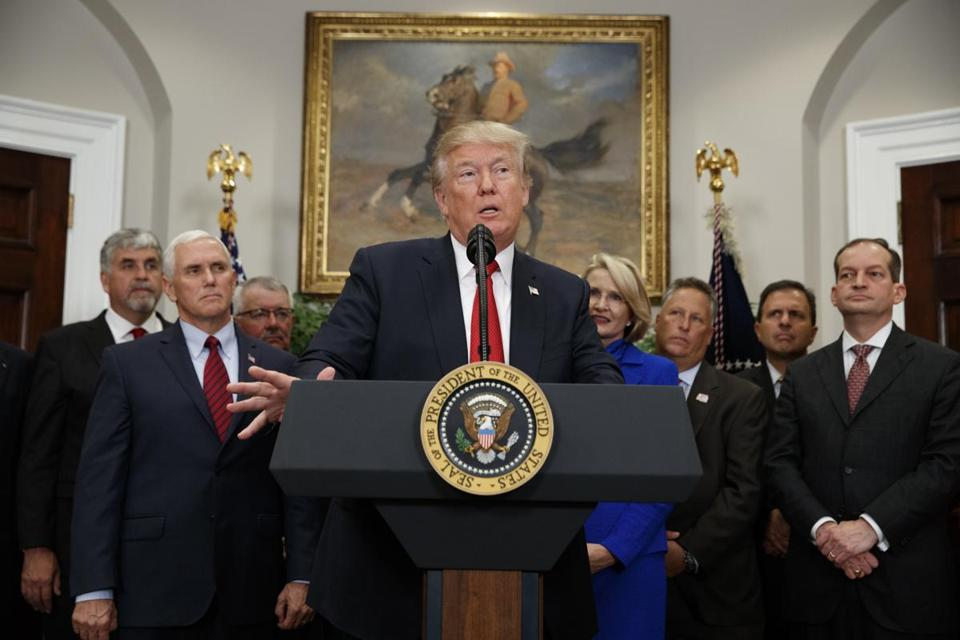 President Donald Trump spoke before signing an executive order on health care in the Roosevelt Room of the White House on Thursday.