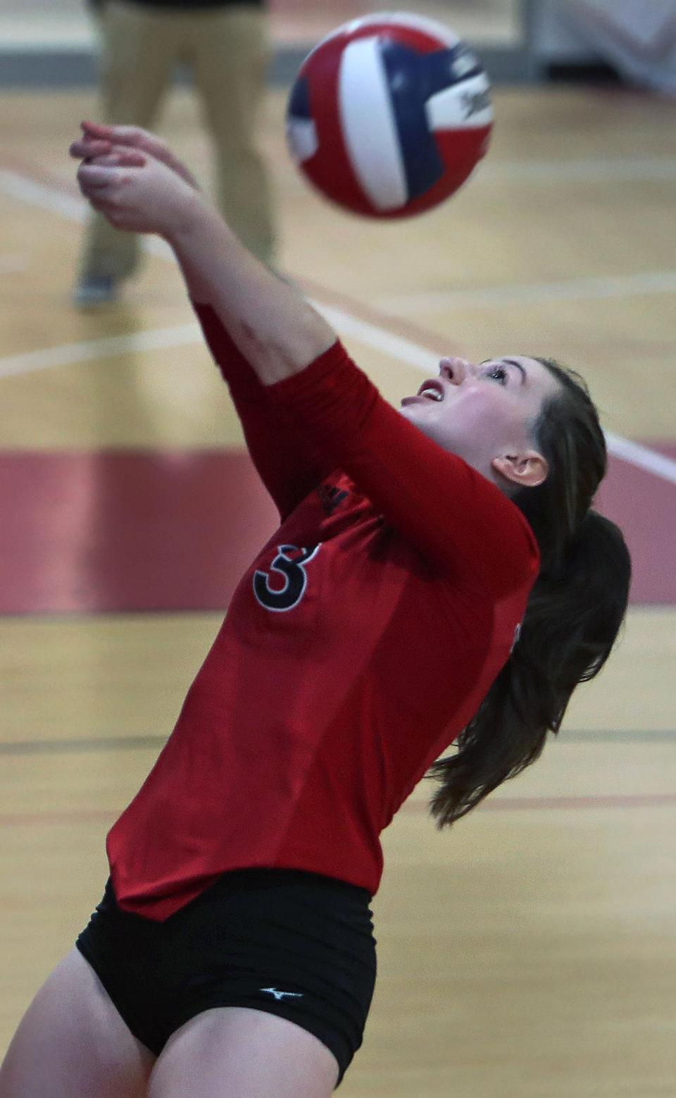 Winchester, MA: 10-11-17: Winchester's Lauren Salvatore is pictured in action. Melrose visited Winchester in a high school girl's volleyball match. (Globe Staff Photo/Jim Davis)