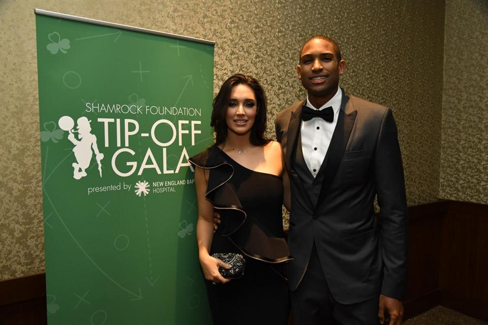 names - Celtics center Al Horford and his wife, former Miss Universe Amelia Vega, at the Celtics season-opening gala. (Handout)