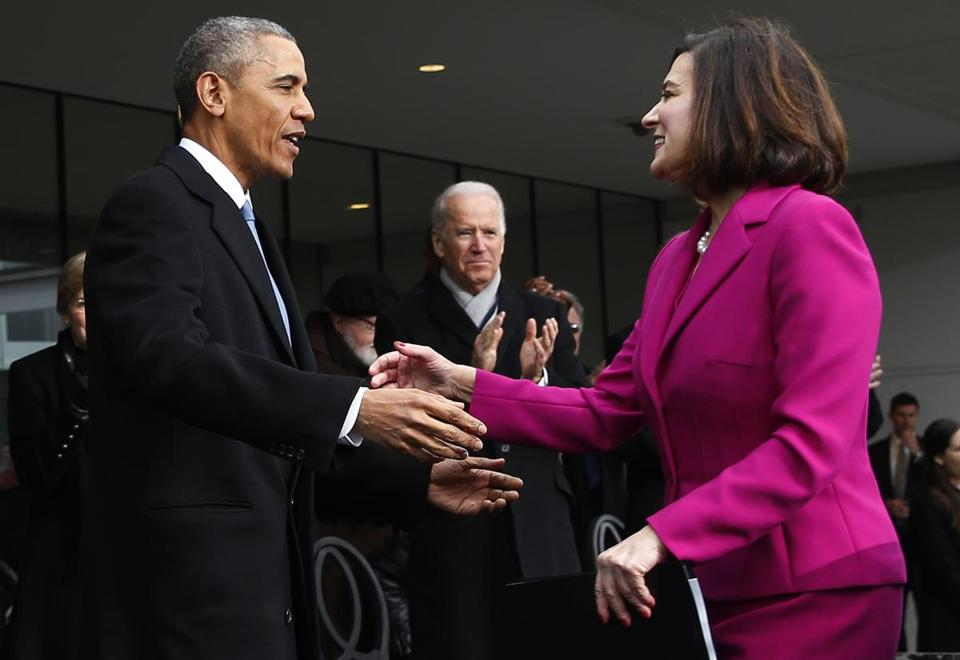 Vicki Kennedy greeted President Obama and Vice President Joe Biden in 2015 at a formal ceremony to dedicate the Edward M. Kennedy Institute for the United States Senate.