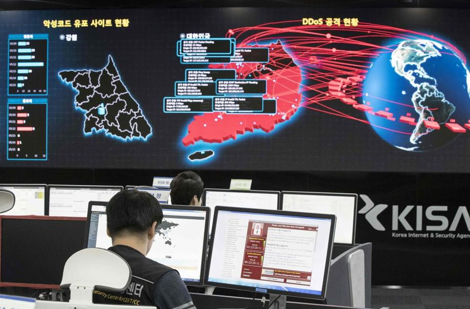 Staffers at the Korea Internet and Security Agency in Seoul monitored cyberattacks that some blamed on North Korea.