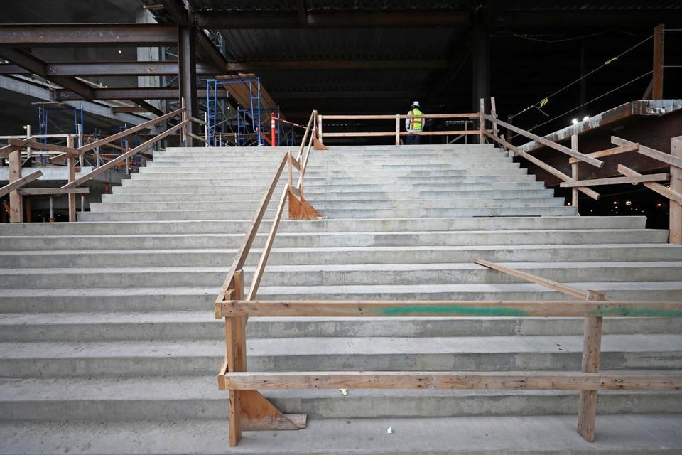 EVERETT, MA - 10/16/2017:Stairway to gaming room at Wynn casino in Everett that is a work in progress. (David L Ryan/Globe Staff ) SECTION: METRO TOPIC 17wynnbuild