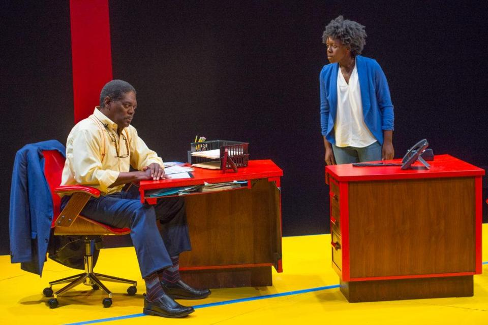 "Johnny Lee Davenport and Obehi Janice in the New Repertory Theatre production of ""Oleanna."""