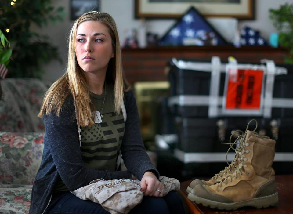 The family of Marine Sergeant Daniel Vasselian (above, wife Erin) received a letter of condolence from the president.