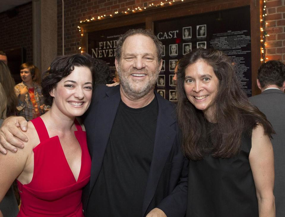 "Actress Laura Michelle Kelly, producer Harvey Weinstein, and director Diane Paulus at the opening night of ""Finding Neverland"" at the American Repertory Theater."