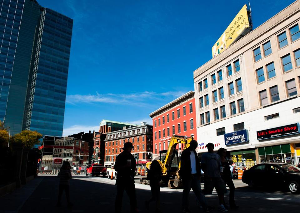 Buildings are seen along Front Street in downtown Worcester.