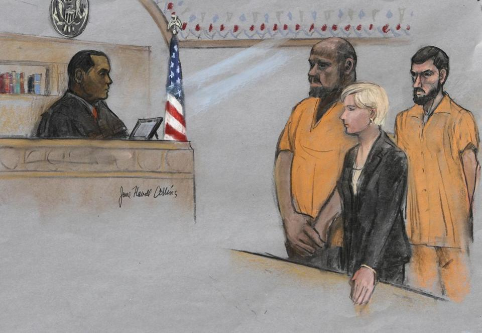 David Wright (second from left) is shown in a courtroom sketch from a June, 2015 appearance in federal court.