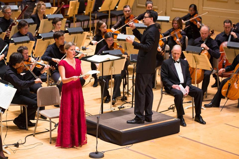 BSO associate conductor Ken-David Masur leads soprano Camilla Tilling at Symphony Hall on Thursday night.
