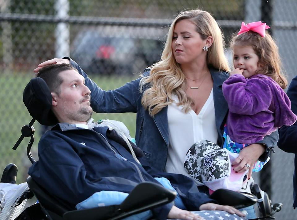Danvers Ma 10/20/17 Pete Frates with is wife Julie Frates and daugher Lucy Frates during St. John's Prep dedicating its baseball field to Pete Frates ('03), named the Pete Frates Diamond at St. John's Prep. (Matthew J. Lee/Globe staff) topic reporter