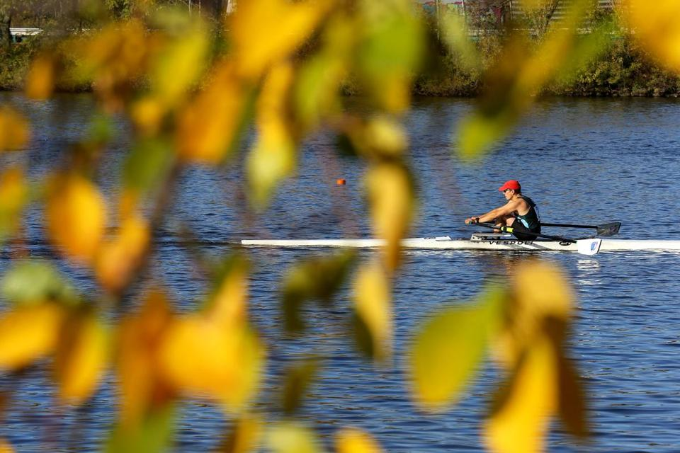 A rower in the grand master singles competed on Saturday.