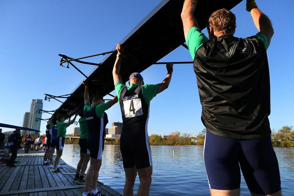 Crewmembers launched their boat at the Riverside Boat Club dock Saturday.