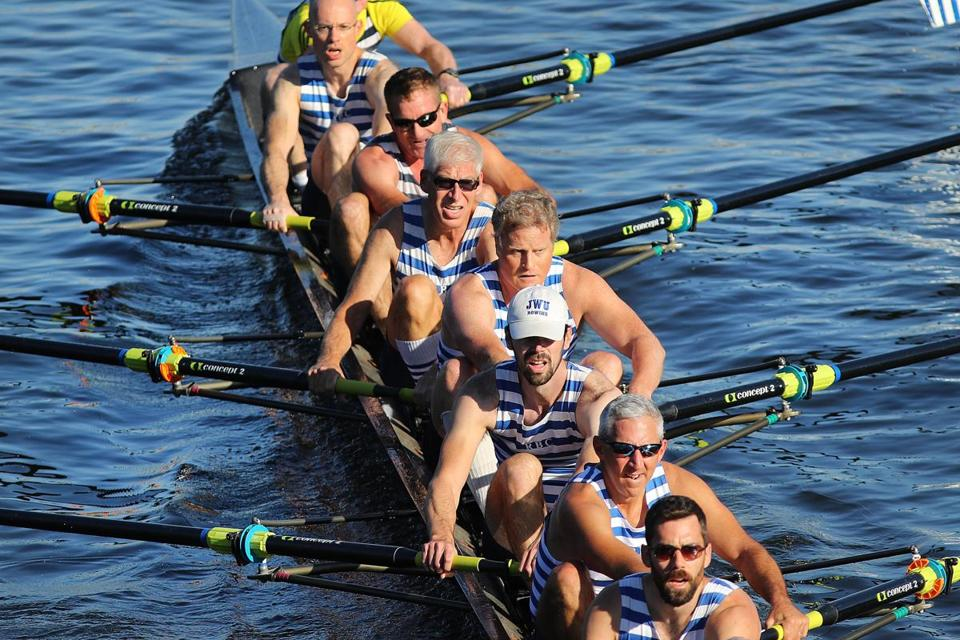 The Riverside men's senior master eights from Cambridge raced up the Charles River on Saturday.