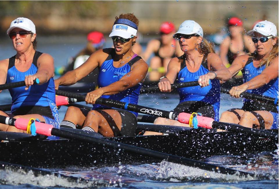 The San Diego senior master eights rowed hard as they headed up the Charles River on Saturday.