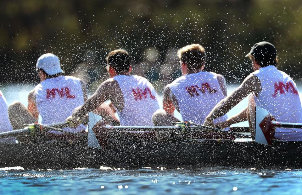Water sprayed the Butte Boat Club in the Alumni Men's Eights race Saturday.