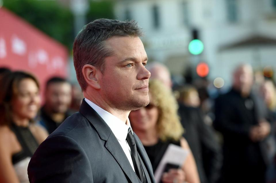 "Matt Damon arrives at the premiere of Paramount Pictures' ""Suburbicon"" at the Village Theatre in Los Angeles on Sunday."
