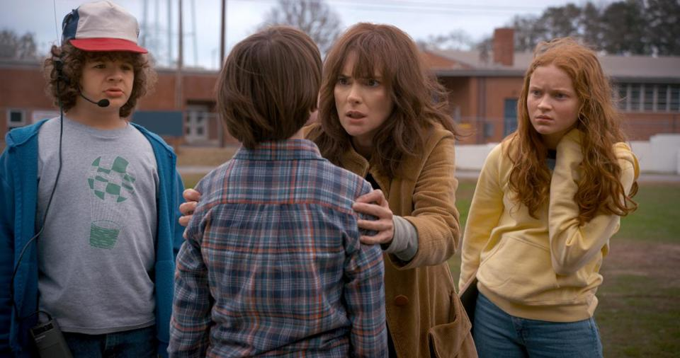 "Winona Ryder and Noah Schnapp (center) in ""Stranger Things."""