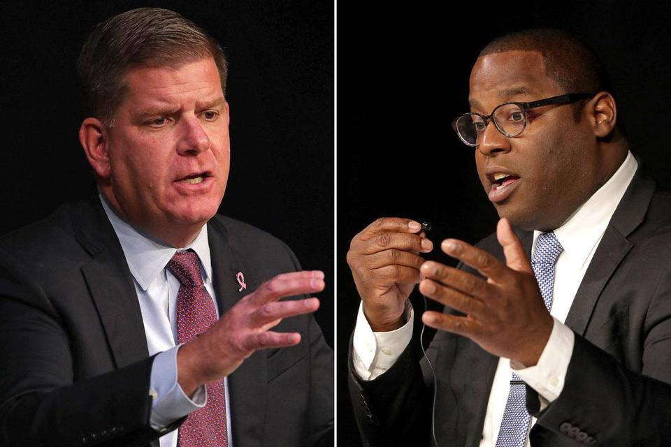 Boston Mayor Martin J. Walsh (left) holds a commanding 35-point advantage over rival Tito Jackson (right) in a new Suffolk University/Boston Globe poll.