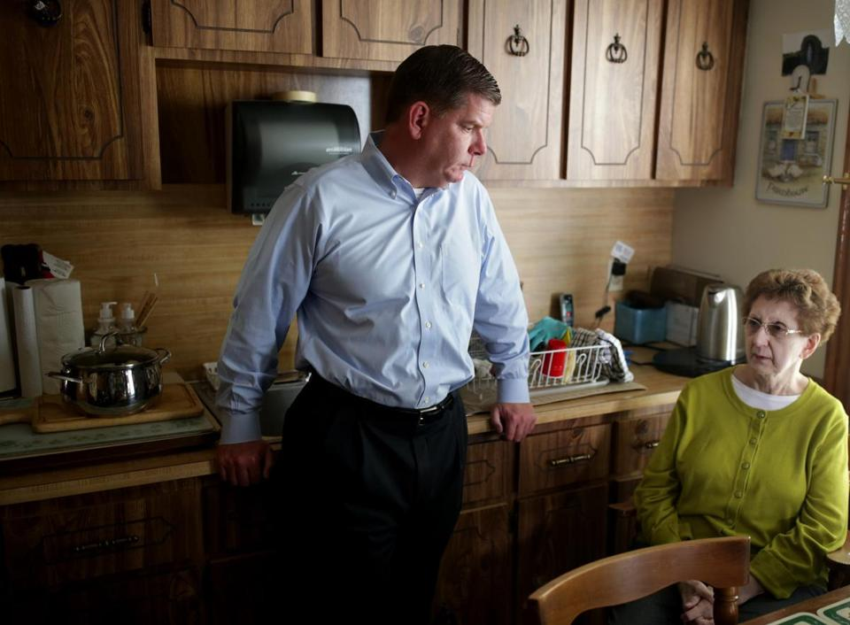 Mayor Martin J. Walsh with his mother, Mary, in the family home on Taft Street.