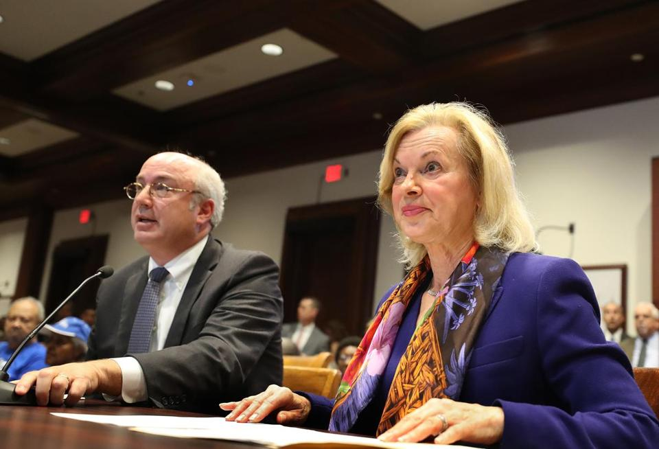 Massachusetts General Hospital president Dr. Peter L. Slavin and Brigham and Women's Hospital president Dr. Elizabeth G. Nabel gave testimony at the Senate health care hearing.