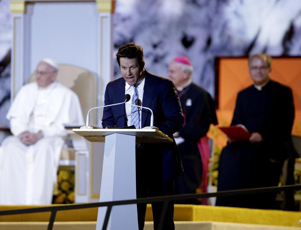 Actor Mark Wahlberg spoke in September 2015 in Philadelphia, during Pope Francis's visit to the United States.