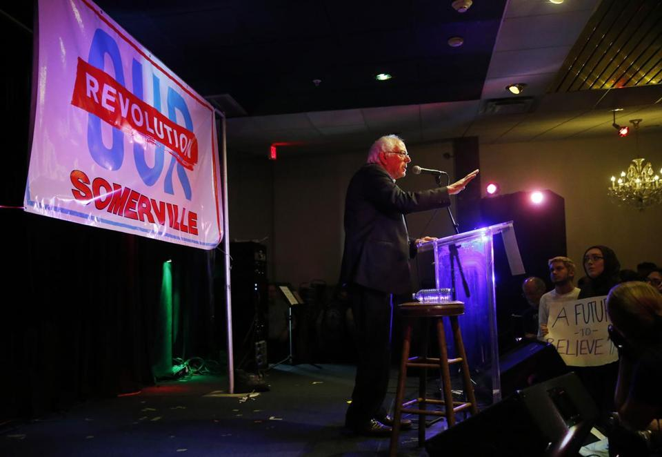 Somerville, MA -- 10/23/2017 - US Senator Bernie Sanders speaks at a rally in support of progressive candidates running for City Council, School Board and the Board of Alderman in Somerville and Cambridge at ONCE in Somerville. (Jessica Rinaldi/Globe Staff) Topic: 24sanders Reporter: