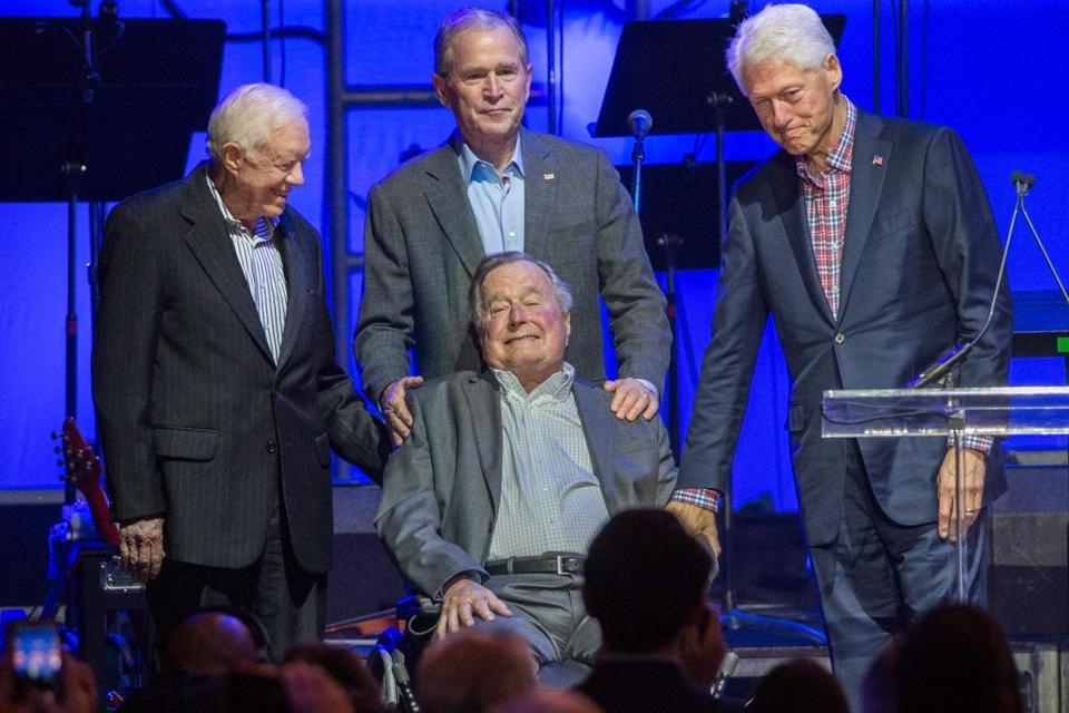 Actress Heather Lind has accused former president George H.W. Bush (front center) of groping her.