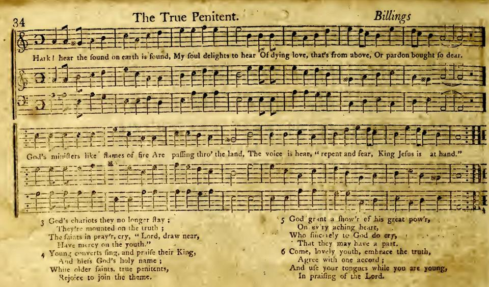 """The True Penitent,"" attributed to William Billings in Jeremiah Ingalls's ""The Christian Harmony,"" 1805."