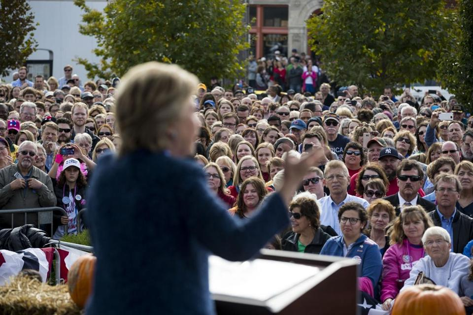 FILE Ñ Hillary Clinton campaigns in Cedar Rapids, Iowa, Oct. 28, 2016. Under growing pressure to reveal more about the spread of covert Russian propaganda on Facebook, the company said on Sept. 21, 2017 that it was turning over more than 3,000 Russia-linked ads, some of which attacked Hillary Clinton, to the Senate and House intelligence committees. (Doug Mills/The New York Times)