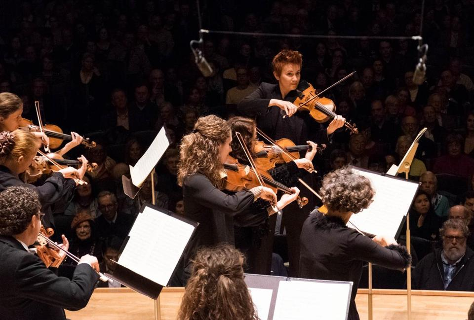 Concertmaster Aisslinn Nosky (background) directed the program and joined colleagues for Beethoven's Triple Concerto.