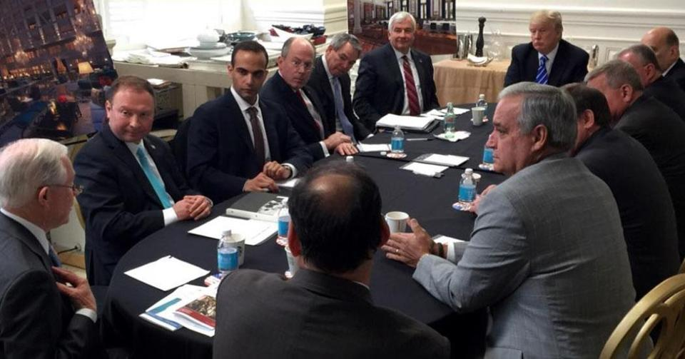 A 2016 national security meeting attended by then-candidate Donald Trump and George Papadopoulos (third from left).