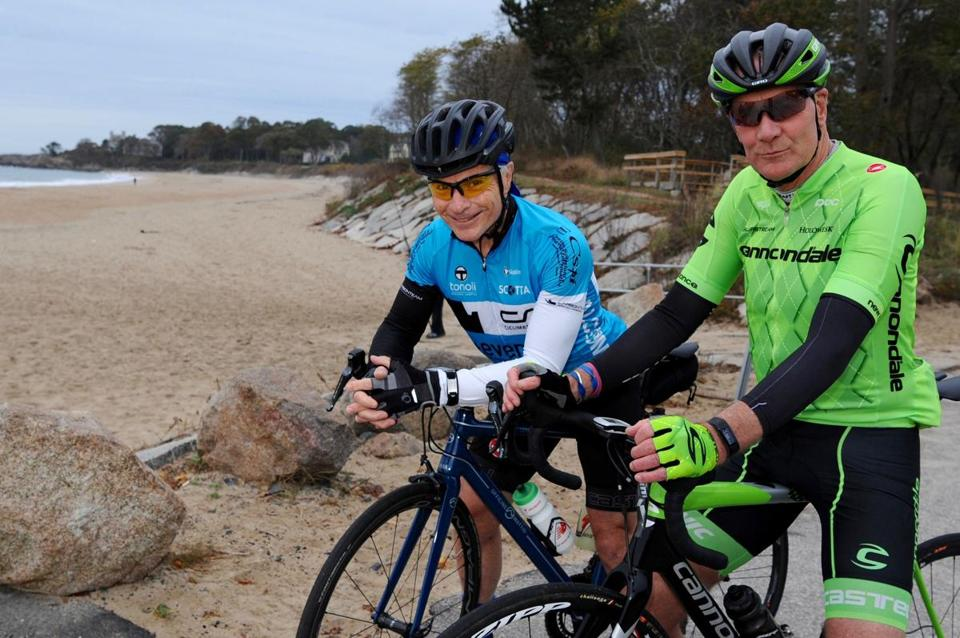 Freddy Cicerchia, 65, center, in blue, riding a Officine Mattio and Terry Cowman, 64, right, in green, riding a Cannondale SuperX Cyclocross, both from Manchester-by-the-Sea, MA, are seen at Singing Beach before a bike ride from Manchester-by-the-Sea, Sunday, October 29, 2017. (Lisa Poole for The Boston Globe)