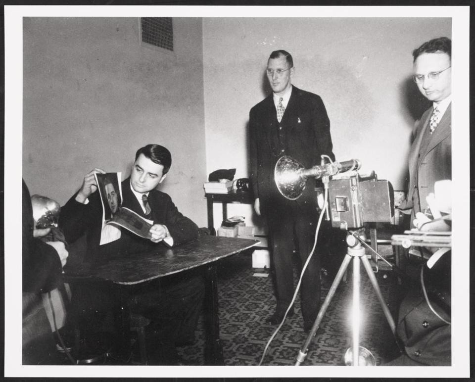 "This photo of Edwin H. Land demonstrating Polaroid Land instant film in 1947 is part of ""At the Intersection of Science and Art — Edwin H. Land and the Polaroid Corporation: The Formative Years."""