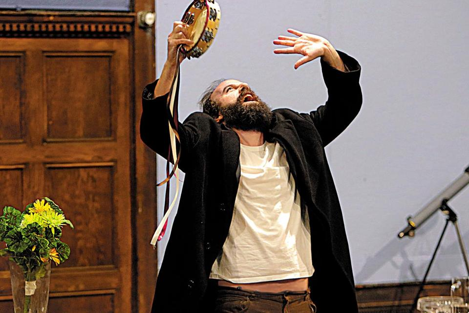 "Brett Gelman in a rehearsal for the Huntington Theatre Company's production of ""Tartuffe."""