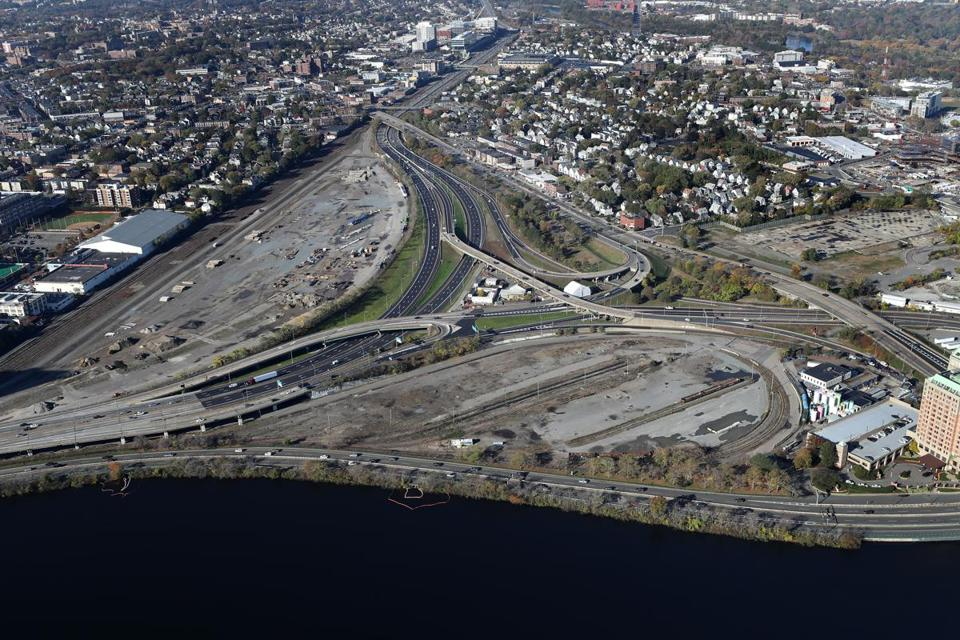 The plan to alter the route of the Massachusetts Turnpike through the Allston stretch could reshape the neighborhood. Above: The highway makes a pronounced curve to avoid the site of a former rail yard.