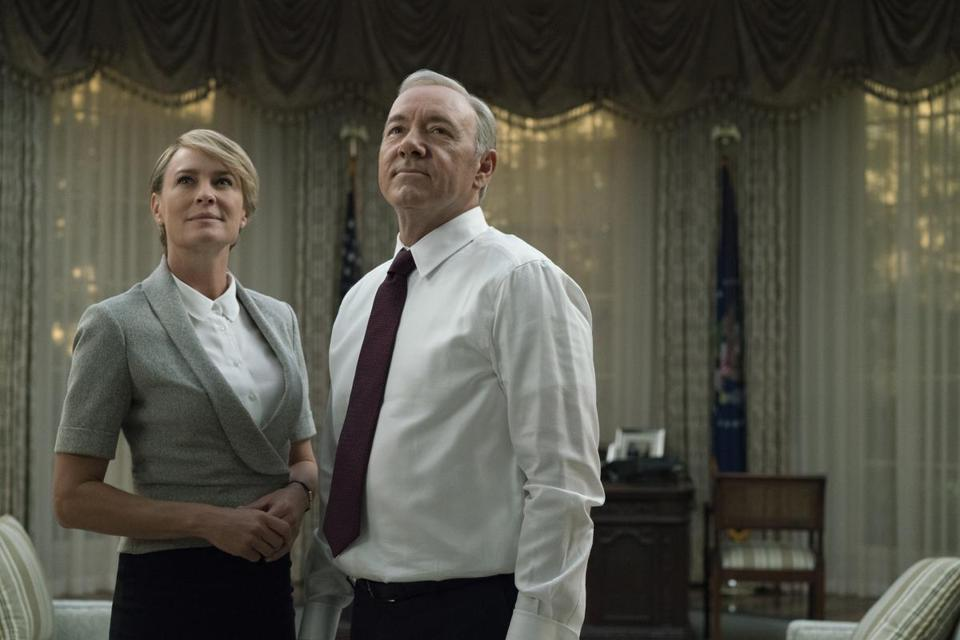 """Robin Wright and Kevin Spacey in a scene from season 5 of """"House of Cards."""""""