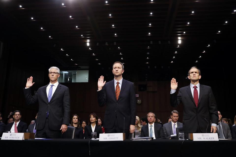 Colin Stretch, Sean Edgett, and Kent Walker — executives from Facebook, Twitter, and Google — testified before the Senate Intelligence Committee on Wednesday.