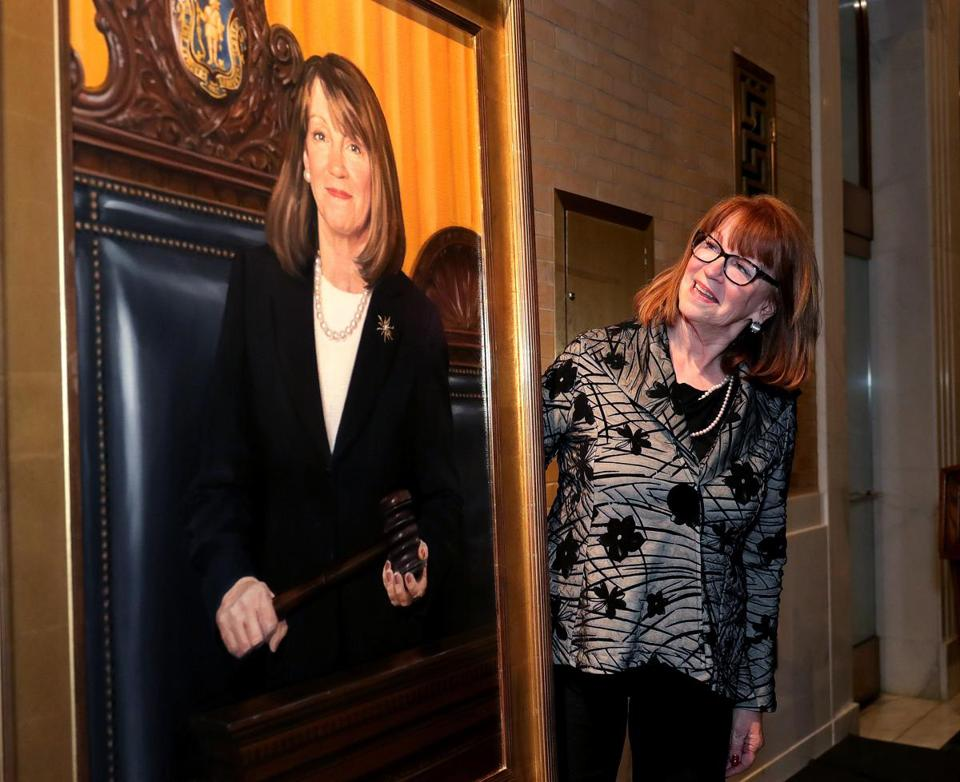 Boston, MA - 11/02/2017 - Unveiling of former Senate President Therese Murray's official Senate portrait at the Great Hall State House. - (Barry Chin/Globe Staff), Section: Metro, Reporter: Jim O'Sullivan, Topic: 03murray, LOID: 8.3.4215858084.