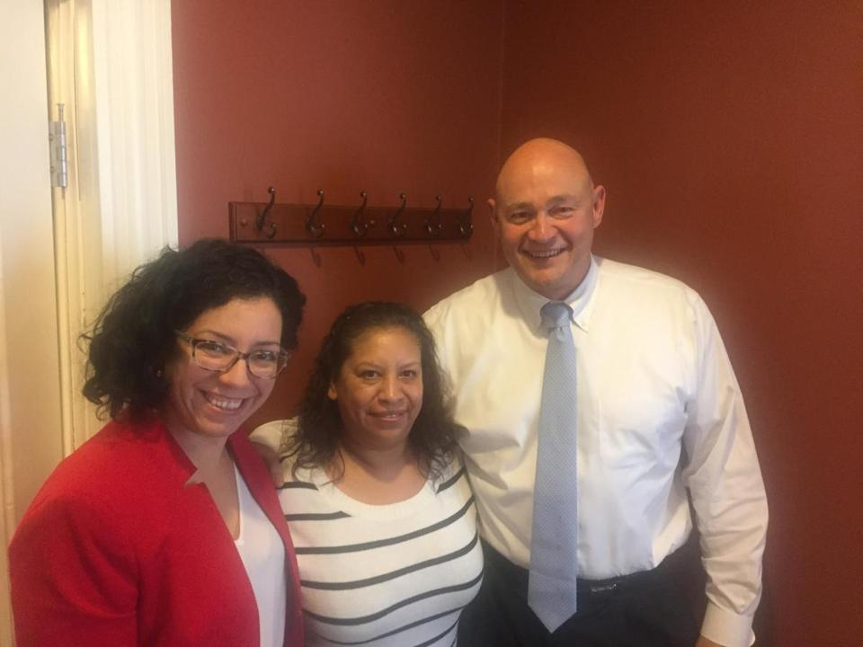 Iris Rodriguez (center) with her lawyers Dayanna Moreno and Victor Maldonado.