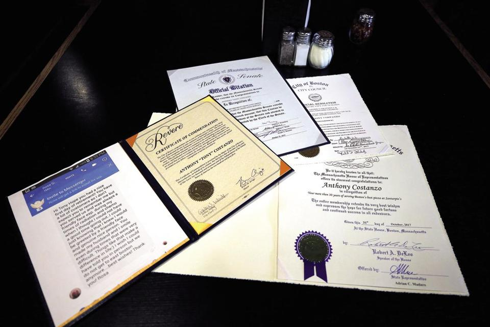 Costanzo received a number of letters and certificates when news of his retirement leaked out.