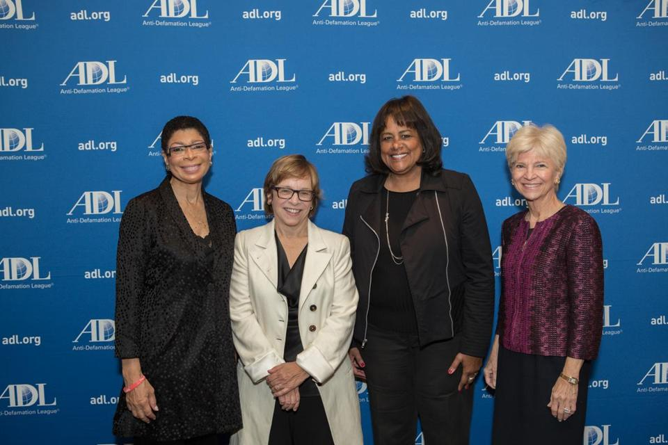 Ellen Clegg (second from left) with past ADL Women of Valor honorees (from left) Carol Fulp, Linda Whitlock, and Sandra Fenwick.