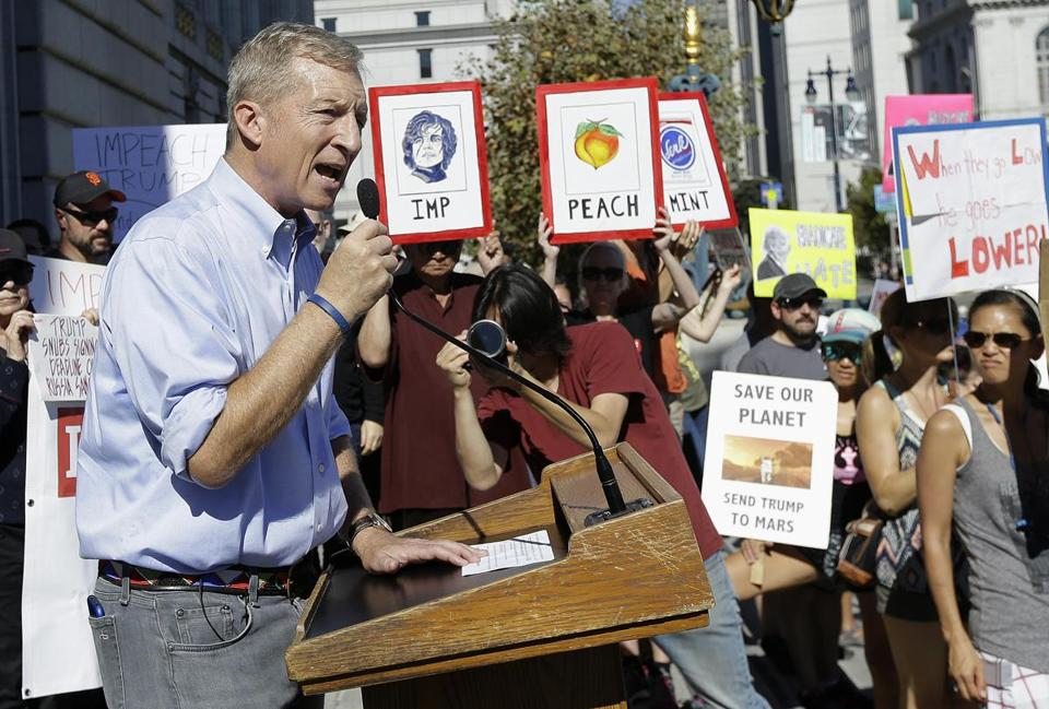 Tom Steyer spoke at a rally in San Francisco on Oct. 24 calling for the impeachment of President Trump.