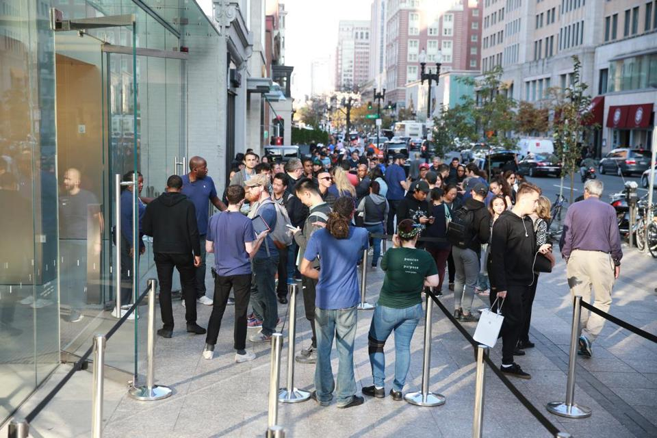 People lined up outside the Apple Store in Boston to purchase the new iPhone X.