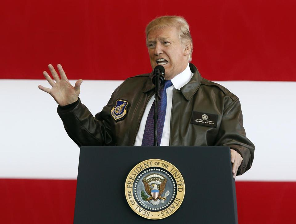 President Trump addressed US service members Sunday during a stop at Yokota Air Base in Japan.