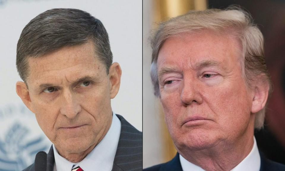 (COMBO) This combination of pictures created on November 5, 2017 shows a file photo taken on January 10, 2017 showing Lieutenant General Michael Flynn (ret.), National Security Advisor Designate speaking during a conference on the transition of the US Presidency from Barack Obama to Donald Trump at the US Institute Of Peace in Washington DC, January 10, 2017. and A file photo taken on November 2, 2017 showing US President Donald Trump listening to a speaker as he announces that Broadcom would be moving back to the US in the Oval Office at the White House in Washington, DC, on November 2, 2017. A new poll, released a year after Donald Trump's stunning electoral victory, shows the US president suffering historically dismal approval ratings as the Russia investigation casts a continuing shadow. A week after news that former Trump campaign chairman Paul Manafort and two other men had been indicted, NBC reported on November 5, 2017 that federal investigators have sufficient evidence to bring charges against Trump's former national security adviser Michael Flynn and his son, who has worked with him. / AFP PHOTO / CHRIS KLEPONIS AND NICHOLAS KAMMCHRIS KLEPONIS,NICHOLAS KAMM/AFP/Getty Images