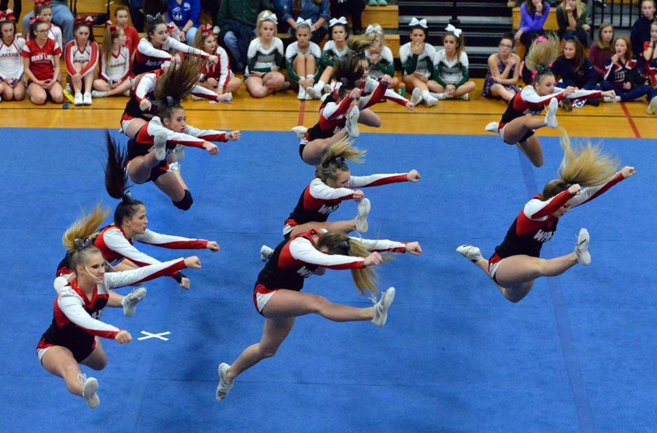 The Whitman-Hanson high school cheerleading squad recently clinched its 12th state title on Nov. 19