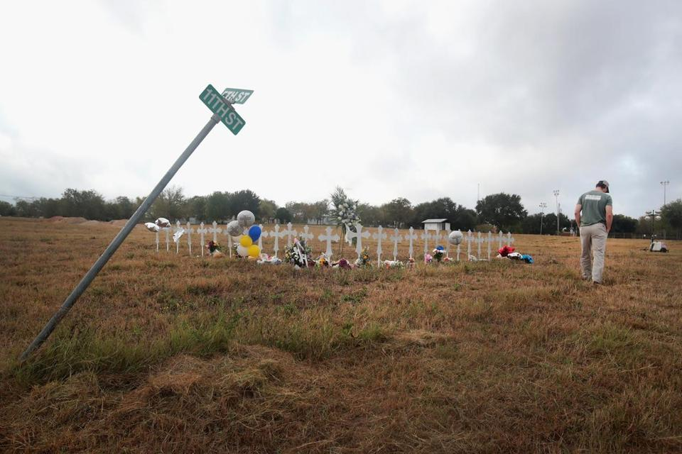 Twenty-six crosses stood in a field on the edge of town to honor those killed at the First Baptist Church in Sutherland Springs, Texas.