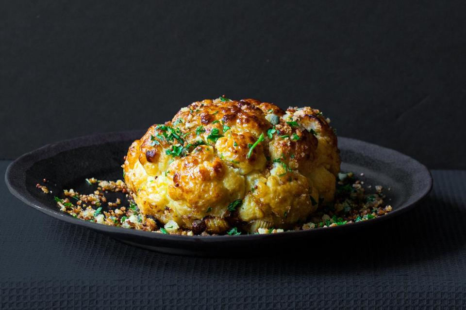 Whole roasted cauliflower with gremolata breadcrumbs