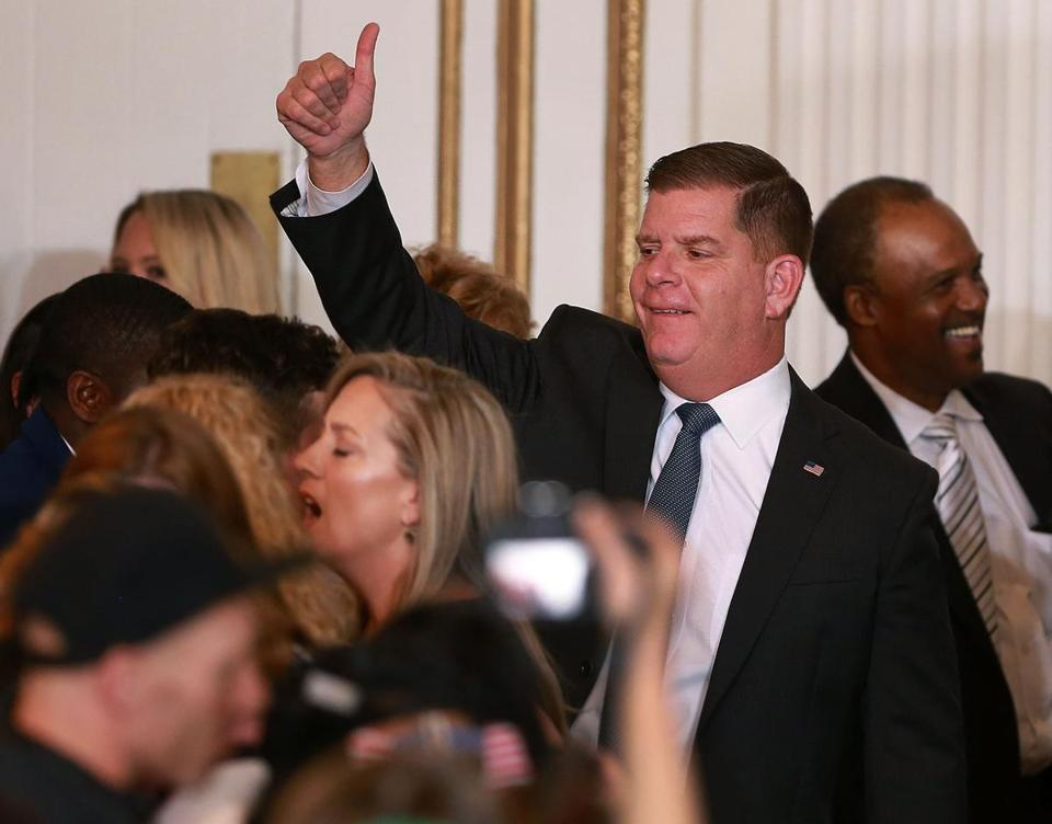 Boston Mayor Martin J. Walsh celebrated his reelection to a second term at a party at the Fairmont Copley Plaza Hotel.